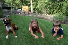 Remy and her family in the backyard